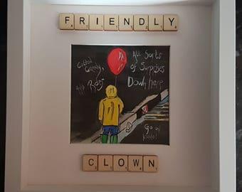 Friendly Clown watercolour pebble art picture