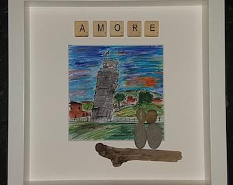 Amore watercolour pebble art picture