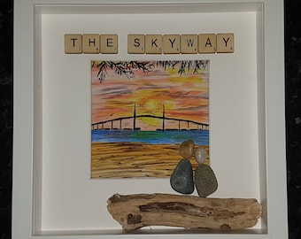 The Skyway watercolour pebble art picture