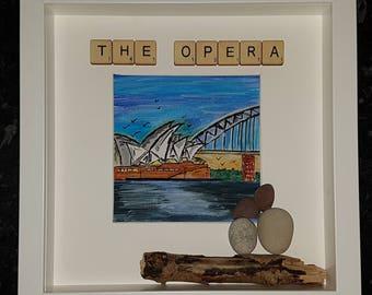 The Opera watercolour pebble art picture