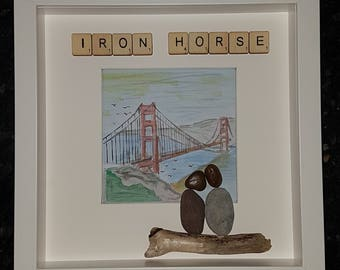 Golden Gate/lovers pebble art picture