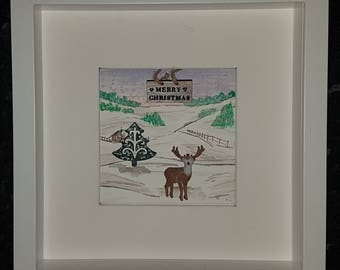 Rudolph countryside watercolour pebble art picture