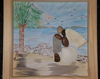 The Honeymoon lovers pebble art picture