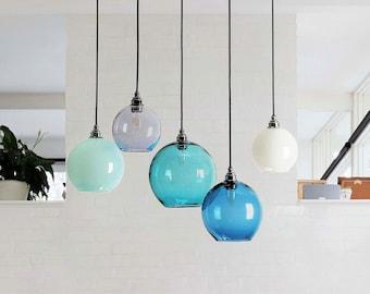 Modern Small Chandeliers Teal Blue Color 100% Handmade Blown Glass Chandelier Lighting living room furniture ceiling light