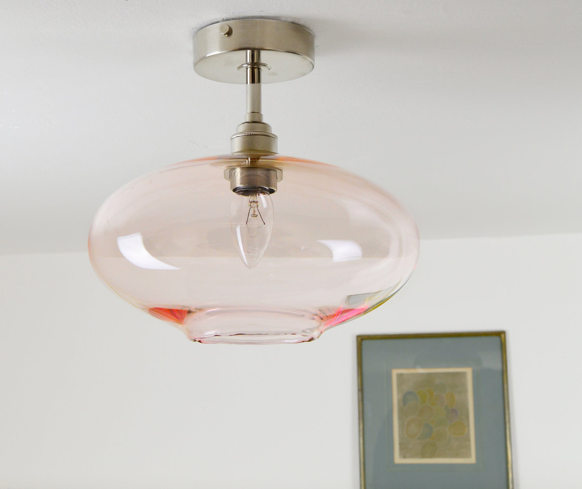Hand blown glass lighting fixtures Pottery Barn 50 Manchester Hot Glass Low Ceiling Hand Blown Glass Lighting Light Pink Mid Century Etsy
