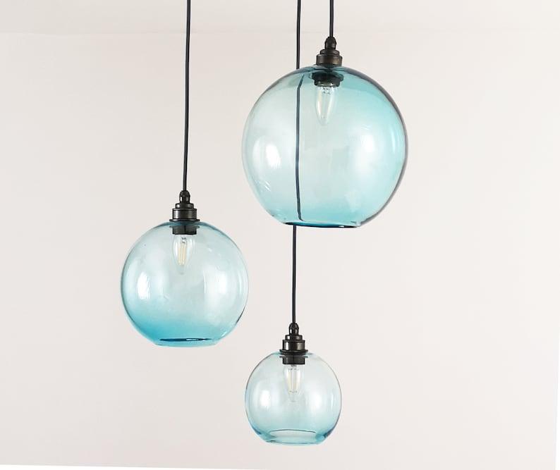 72ee2ca93b2e Hand Blown Glass Globe Lights. Coloured Glass Pendant Lights.