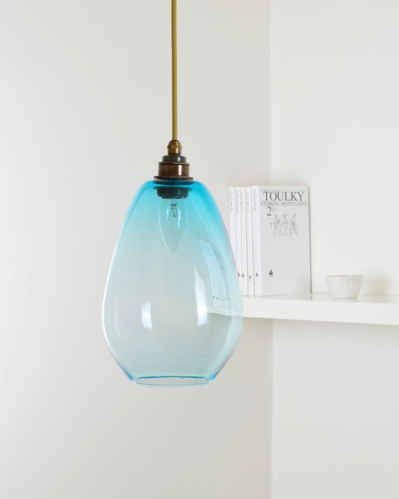 Hand blown color glass pendant lighting modern glass hanging lamp mid century glass lighting copper blue design glass lamp