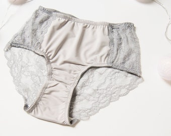 8e07c46fd6 Grey lace high-waist panties underwear