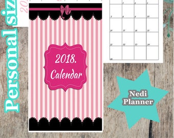 Personal size - 2018. Calendar, Monthly Planner, Planner Printable, 2018. Planner, School Planner, Instant Download, Printable Inserts