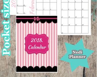 Pocket size - 2018. Calendar, Monthly Planner, Planner Printable, 2018. Planner, School Planner, Instant Download