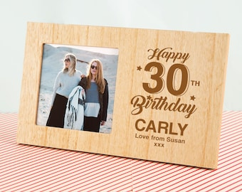 Personalised Birthday Milestone Photo Frame  - Wooden Photo Frames, Customised Name Picture Frames, Ages 30, 40, 50, 60, 70, 80, 90 and 100