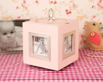 Personalised Pink Music Box - Gifts for Girls, Gifts for Children, Christening Gifts, Baptism Gifts, Photo Gifts, Personalised Gifts