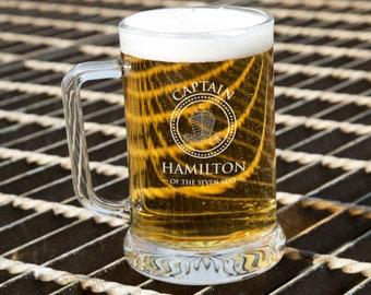 ENGRAVED BADMINTON PINT GLASS TANKARD GT35