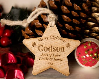 personalised godson wooden star godson presents godson gift ideas godchild gifts wooden star hanging star wooden christmas star