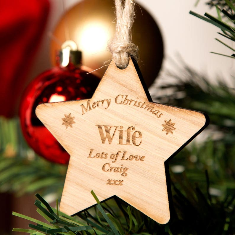Christmas Ideas For Wife.Personalised Wife Wooden Star Christmas Ideas For Wife Christmas Gifts For Wife Best Gifts For Wife Wooden Hanging Stars Star Shape