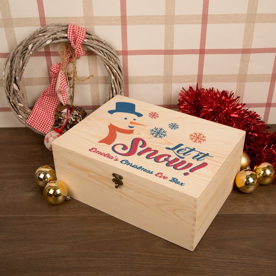 Personalised The Snowman Large Wooden Christmas Eve Box Xmas Kids Boys Girls