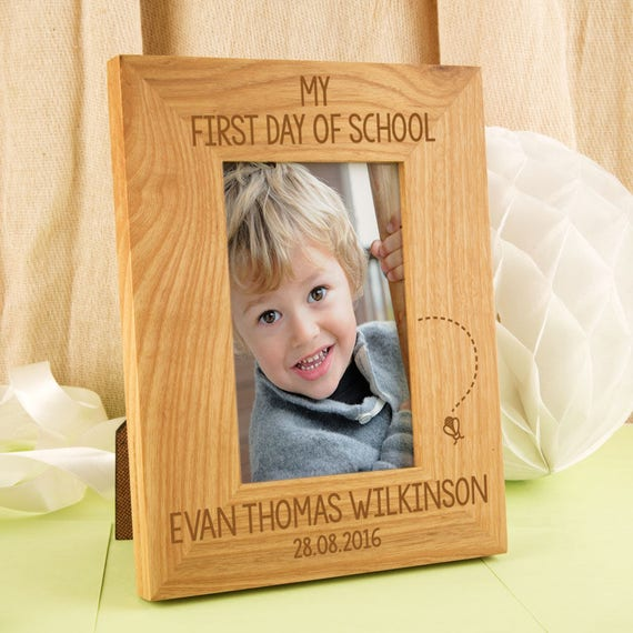 First Day Of School Engraved Oak Photo Frame Wooden Picture Etsy