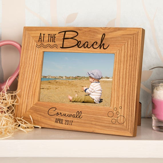 At the Beach Oak Photo Frame Wooden Picture Frame First | Etsy