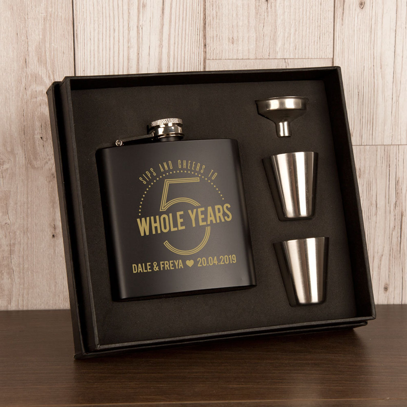 Personalised steel hipflask