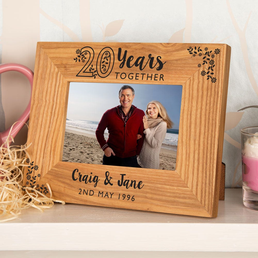 20th Anniversary Oak Photo Frame Personalised Wooden Picture | Etsy