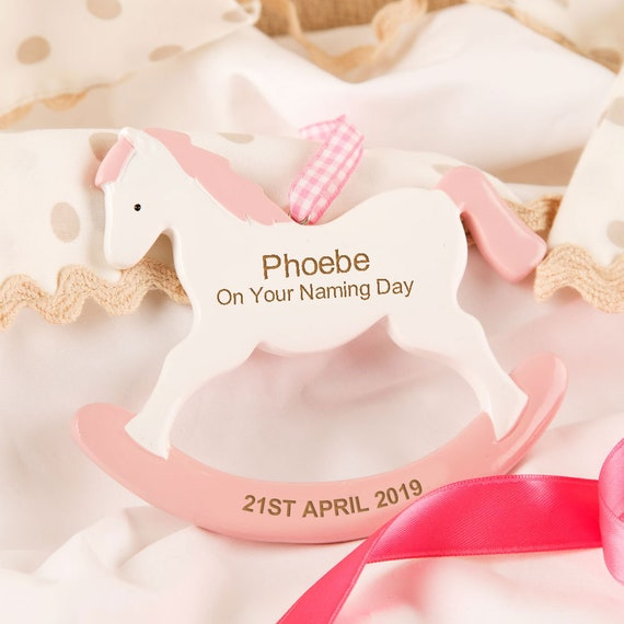 Personalised Pink Rocking Horse Decoration Girls Dedication Present