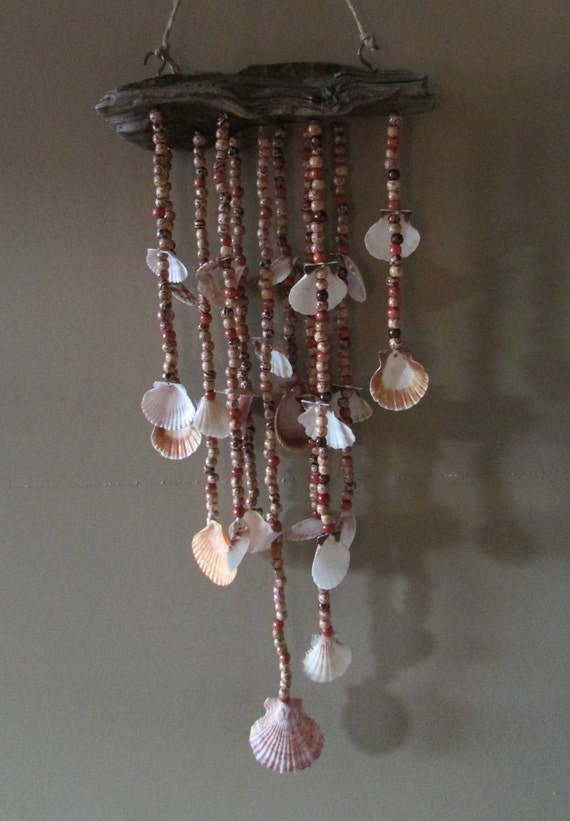 Coral Heart Beaded Wind Chime-Aluminum Coral Beaded Patio Decor-She Shed Decor-Coral Beads-Beaded Wind Chime-Silver Heart Wind Catcher
