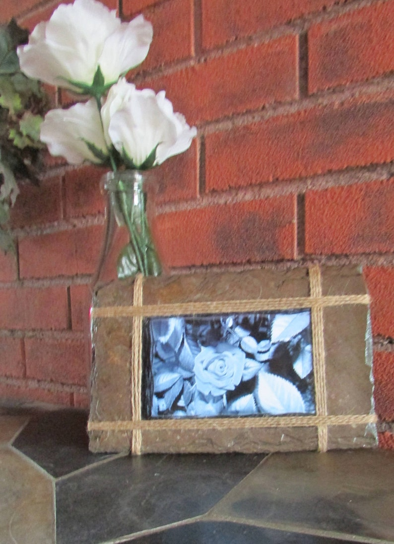Unique memory holder 4 x 6 picture. Slate picture frame Anniversary gift Wedding gift Engagement gift