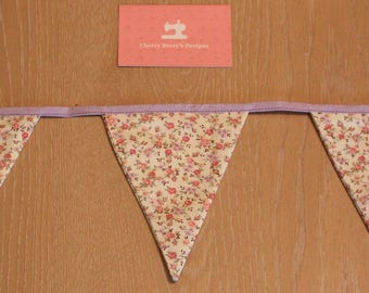 Cream and Lilac Floral Bunting