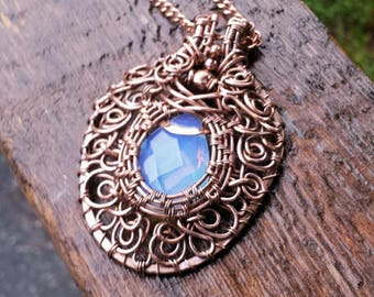 Air: copper wire wrapped pendant necklace with opalite faceted oval glass bead