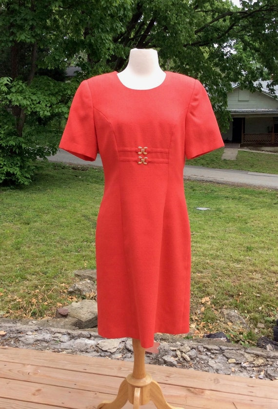 1990s Orange Work Dress