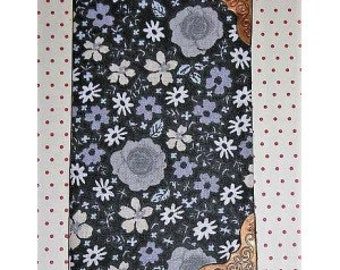 Grey floral fabric notebook