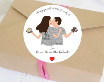 Illustrated Wedding Favor Labels - Wedding Stickers - Custom - Personalized - Wedding Labels - Digital Template - Wedding Favor - Decor
