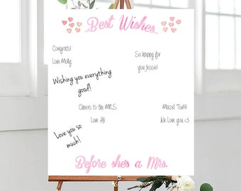 Best Wishes Bride To Be Sign In Board - PERSONALIZED - CUSTOM - Designed - Guestbooks - Gifts - Bridal Shower - Party Favor - Bachelorette