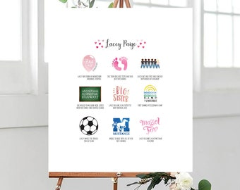 Illustrated Bat/Bar Mitzvah Timeline Sign In Board - Personalized - Custom, Designed - Guestbooks - Gift - Illustrated - Party Favor - Decor
