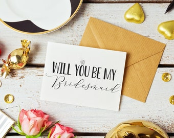 Silver Glitter Bridesmaid Ask Cards