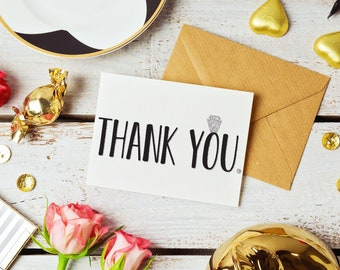 Silver Glitter Bridesmaid Thank You Cards