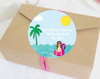 Illustrated Tropical Bachelorette Party Labels - Bachelorette Party Stickers - Custom - Personalized - Digital Template - Bach Favor - Decor