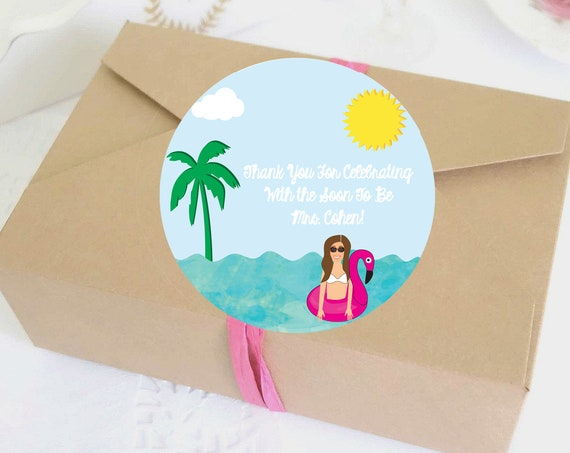 Illustrated Tropical Bachelorette Party Labels