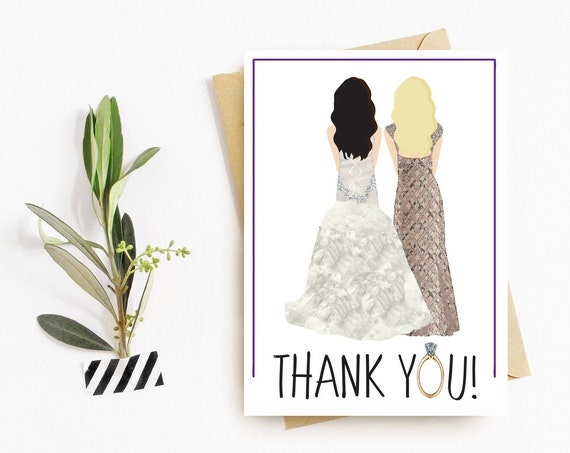 Bridesmaid Dress + Wedding Dress Thank You Cards