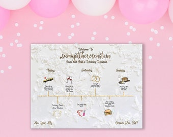 Wedding Weekend Itinerary, Personalized, Custom, Watercolor, Illustrated, Wedding Day Timeline - Itinerary - Wedding Schedule - Party Favor