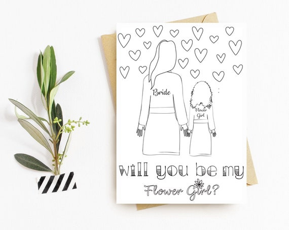 Color It In Flower Girl Card