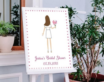 Illustrated Bridal Shower Sign In Board - PERSONALIZED - CUSTOM - Designed - Guestbooks - Gifts - Bridal Shower - Party Favor - Bride To Be