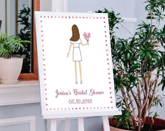 Illustrated Bride Bridal Shower Sign In Board