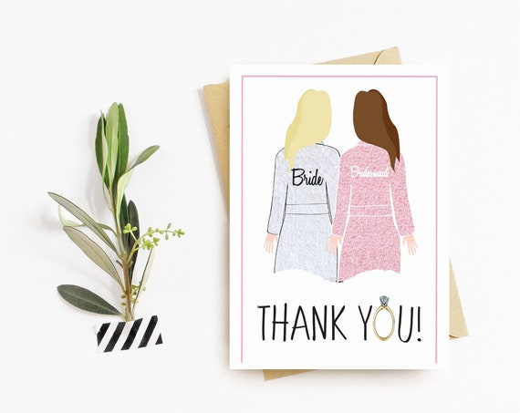 Bridesmaid Getting Ready Robes Thank You Cards