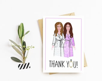 Custom Bridesmaid Thank You Cards - Wedding Cards - Personalized - Illustrated - Bridal Party - Bridesmaids - Thank You Cards - Weddings