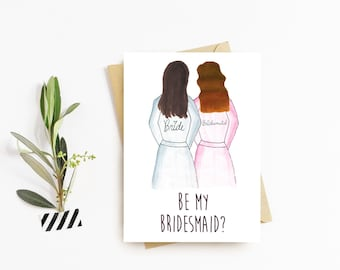 Bridesmaid Getting Ready Robes Ask Cards - Hand Drawn