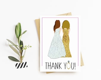 Bridesmaid Thank You Cards - PERSONALIZED - CUSTOM - Wedding Cards - Illustrated - Bridal Party - Bridesmaids - Thank You Card - Weddings