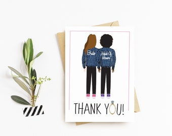 Denim Jacket Bridesmaid Thank You Cards