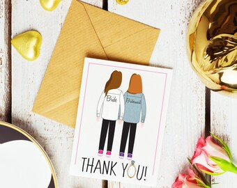 Bridesmaid Getting Ready Shirt Thank You Cards