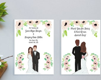 Hand Drawn Illustrated Wedding Programs - Couple Drawing - Weddings - Bridal Party - Wedding Party - Custom - Personalized - Printed
